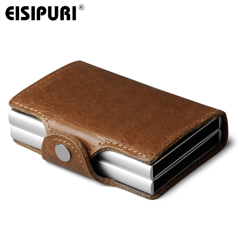 EISIPURI Men Genuine Leather double Metal Credit Card Holder Aluminium RFID Blocking Wallet Hasp Mini Vintage Wallet Hold Cards ljl bullcaptain genuine leather men wallet rfid blocking vintage bifold wallets credit cards holder