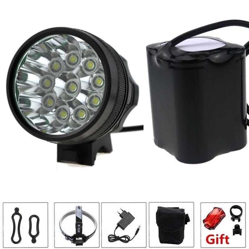 10T6 20000 Lumens 10xCREE XM-L T6 LED Front Bicycle Bike Light Lamp Headlamp Headlight + 20000mAh 4*26650 Battery Pack & Charger solarstorm x3 bicycle light 8000 lumens 4 mode xm l t6 led cycling front light bike light lamp torch battery pack charger