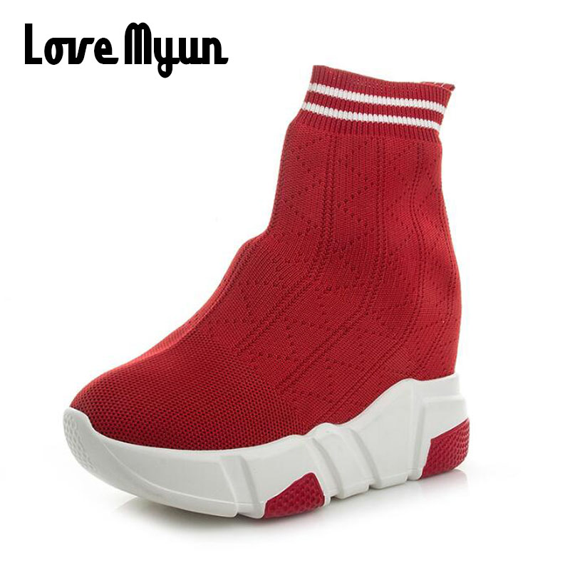 Woman Sneakers Casual Elasticity Wedge flat Platform Shoes Breathable Summer Ankle Boot Women high top Socks Shoes KK-64