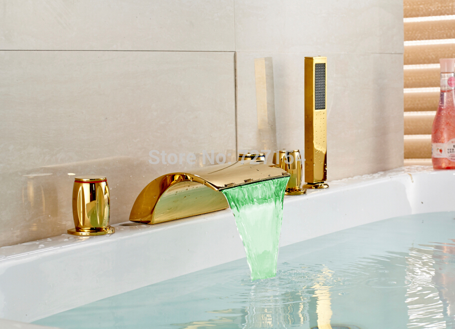 Free shipping! Golden Finish LED Color Changing Bathroom Tub Faucet Widespread Spout Mixer Tap