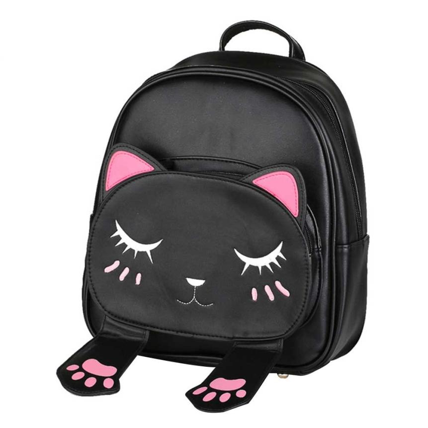 PU Leather Shoulder Backpack Cute Cat Backpack School Women Backpacks Girl Back Pack Travel Rucksack Shopping Daypack Satchel-13