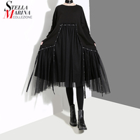 2018 Korean Style Women Winter Solid Black Dress With Mesh Stitched Long Sleeve Female Casual Streetwear Midi Dress vestido 4564