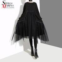 2018 Korean Style Women Winter Solid Black Dress With Mesh Stitched Long Sleeve Female Casual Streetwear Midi Dress vestido 4564