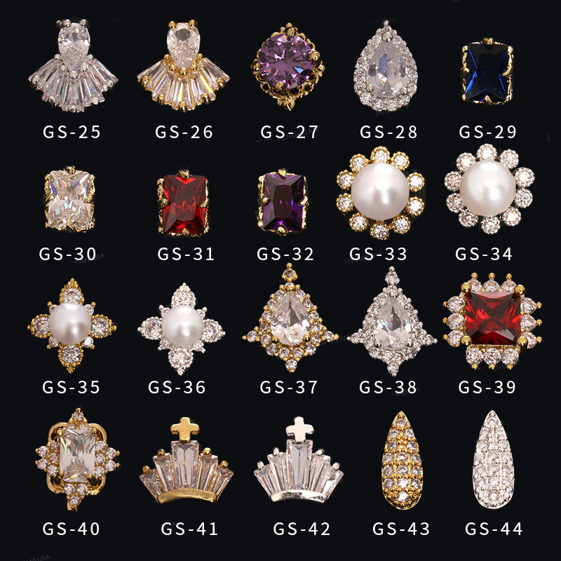 5pcs/lot 3D metal Nail art zircon rhinestone series nails decorations top-level zircon diamond Manicure luxury alloy nail Charms