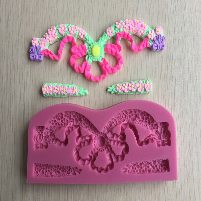 3D Reverse sugar molding lace shape silicone mould for soap candle polymer clay molds accessories cake decoration tools F0452