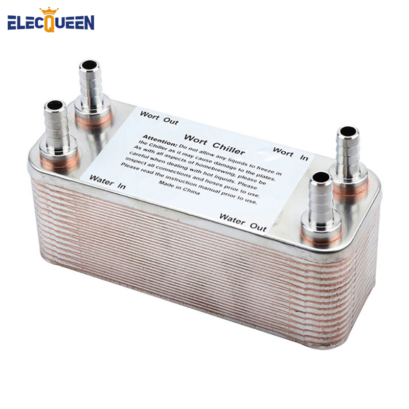 "Plate heat exchanger Stainless Plate Wort Chiller - New 30 plates <font><b>Brewing</b></font> Chiller,with 1/2"" barb"