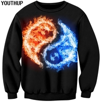 YOUTHUP 2018 New Design 3d Hoodies For Men Tai Chi Water & Fire Print Men O Neck Sweatshirts Plus Size Cool Hoodies 3D Pullover