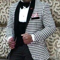 Tailored White Black Pattern Suit Men Slim Fit 3 Piece Floral Tuxedo Blazer Prom Wedding Suits Terno Jacket+Pant+Vest