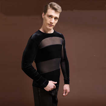 Sexy Latin Dance Shirts For Males Black Color Original Velvet Shirts Classical Men Chacha Professional Ballroom Clothes E019 - DISCOUNT ITEM  5% OFF All Category