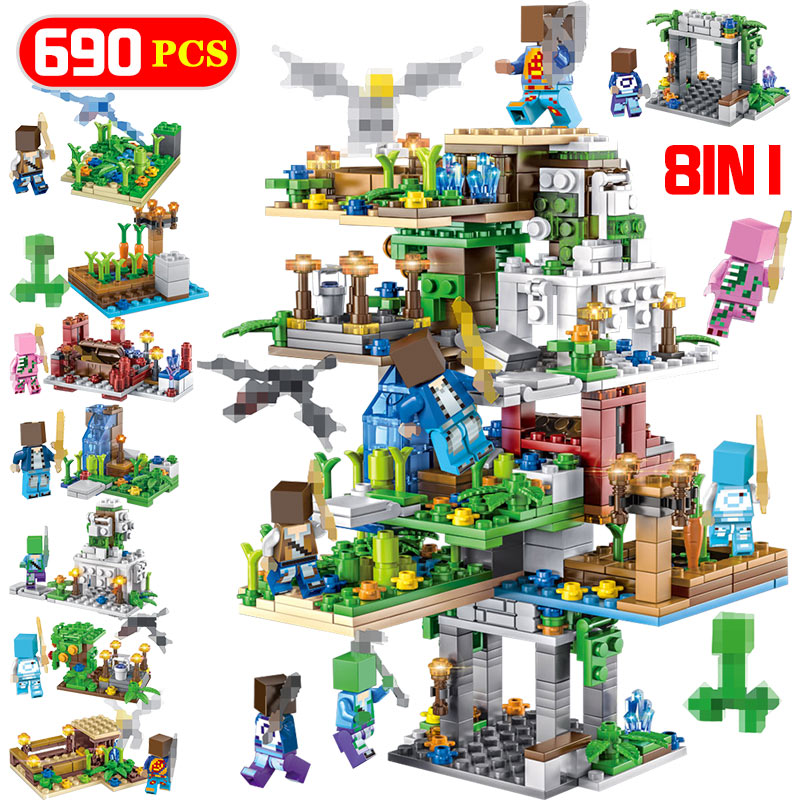8in1 My World Hanging Garden 690pcs Building Blocks Legoing Minecrafted Tree House Figure Bricks Children Toys Christmas As Gift