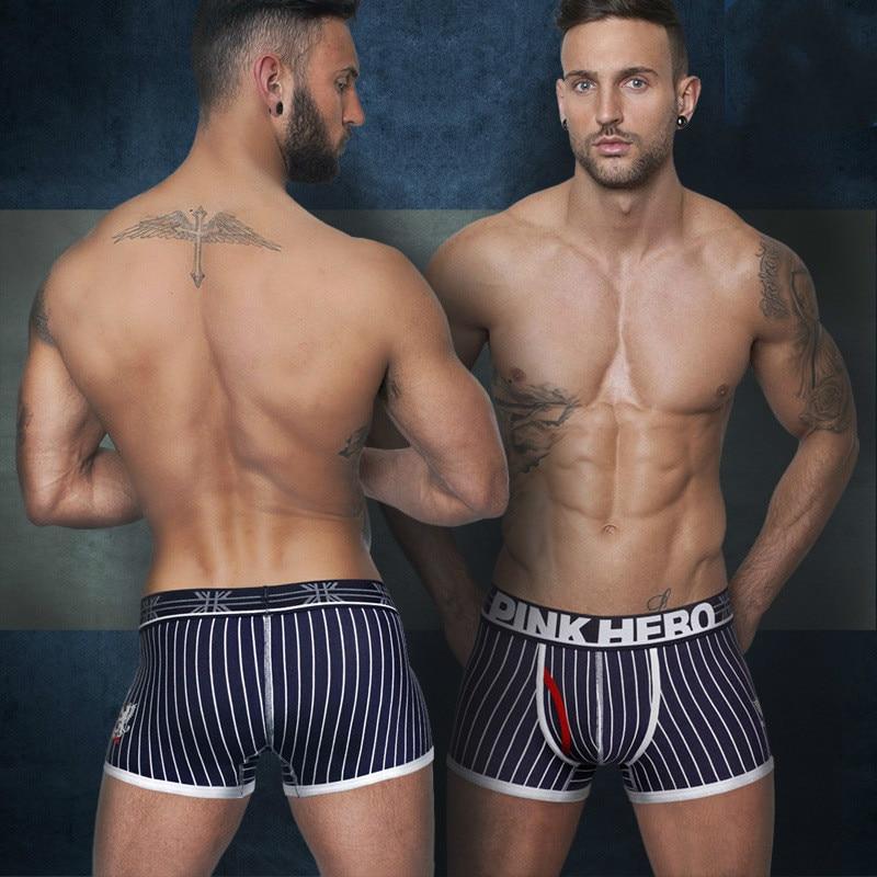 Four-Corner Underwear Panties Bodysuit Shorts Boxers Pink Heroes Mens Male Cotton Masculina
