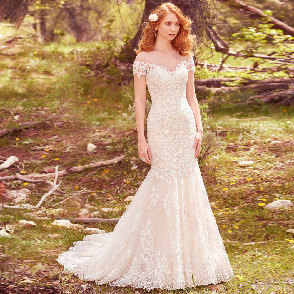 Modest Short Sleeves Bridal Gown With Train O Neck Custom