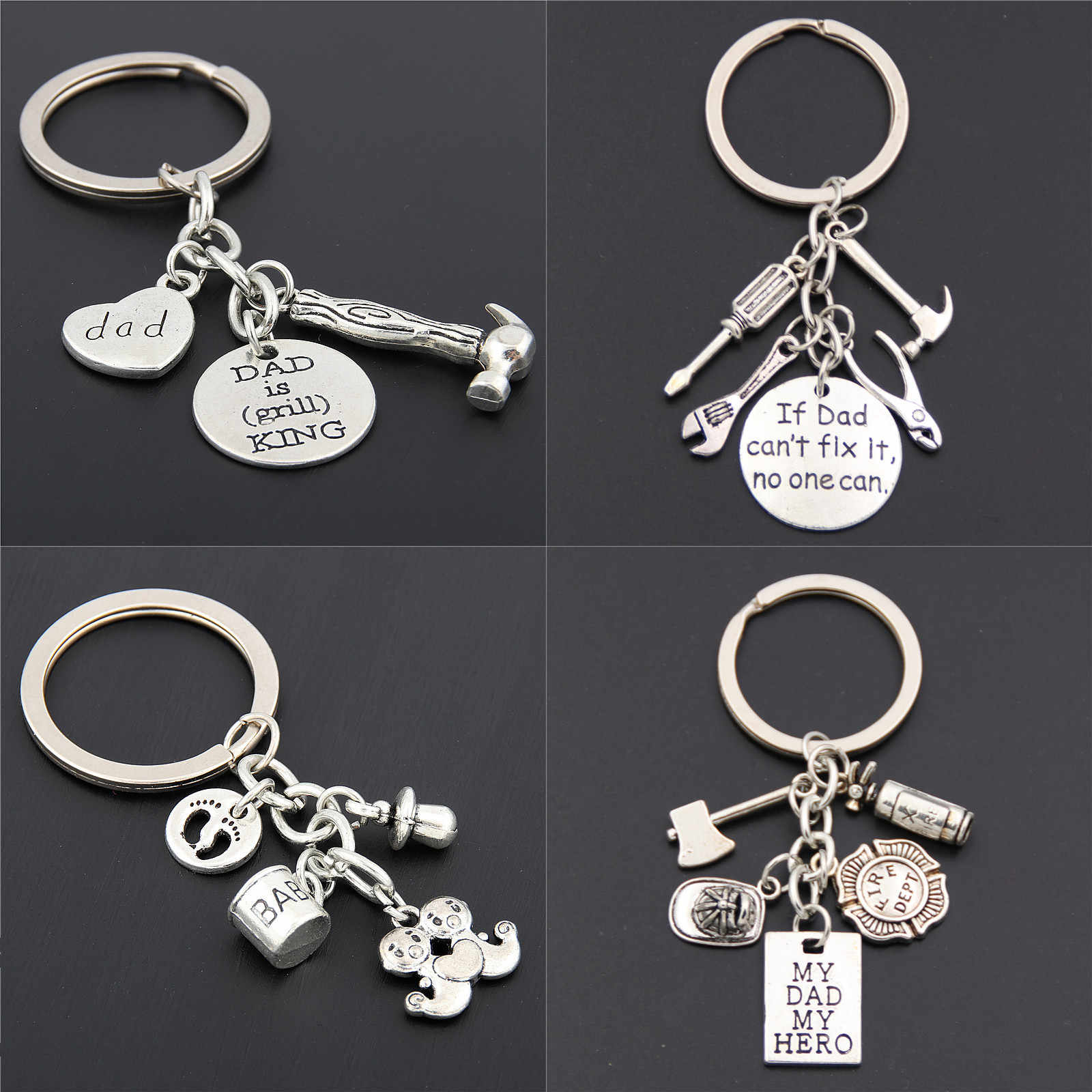 1pc Fathers Day Gift Words Pendant With Tools Keychain Daddy Keyring Gift For Dad Gift Father Keychain baby Jewelry