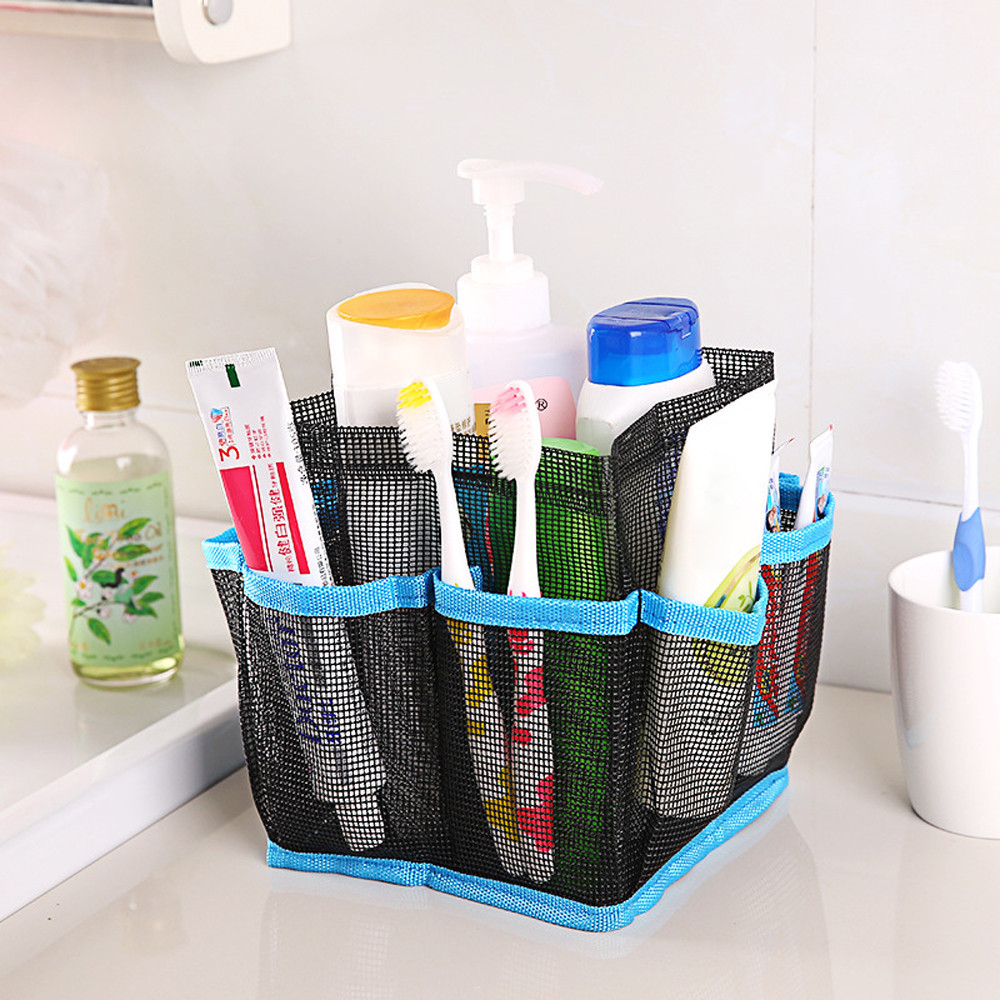 16*16*18.5cm Storage Bags Mesh Shower Caddy Tote Wash Bag Dorm Bathroom Caddy Organizer with 8 Basket Pockets Package Sep14-in Storage Bags from Home ...