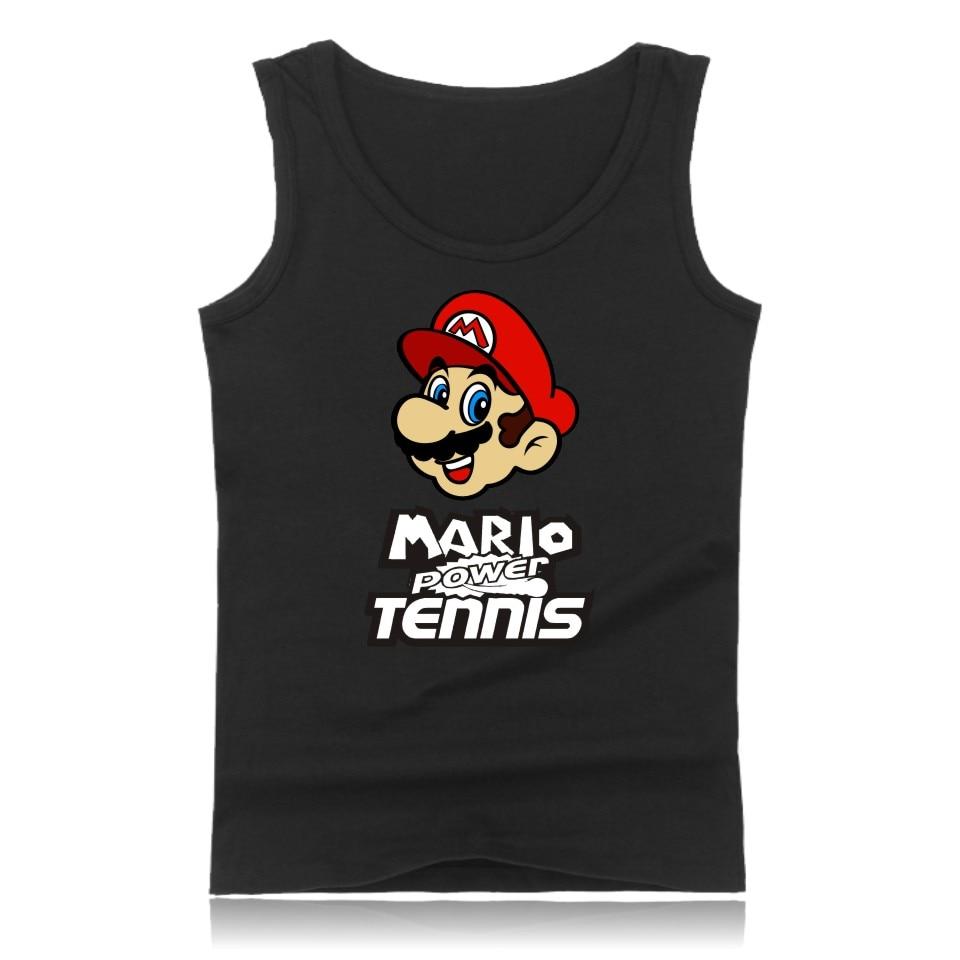 Hot Sale Super Mario Shirt Cotton Bodybuilding Vests   Tank     Top   Mens Sleeveless cartoon pattern printed Shirts Plus Size 4XL