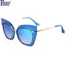 e9d8e7b9877a1 FOENIXSONG Nova Moda Grande Quadro Do Gato Olho Óculos De Sol Das Mulheres  de Alta Qualidade Listrado UV400 Eyewear Óculos de So.