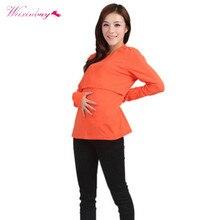 Kvinnor Maternity Kläder Bekväm Nursing Långärmad O Halsband Gravida Kvinnor Toppar 9 Färger
