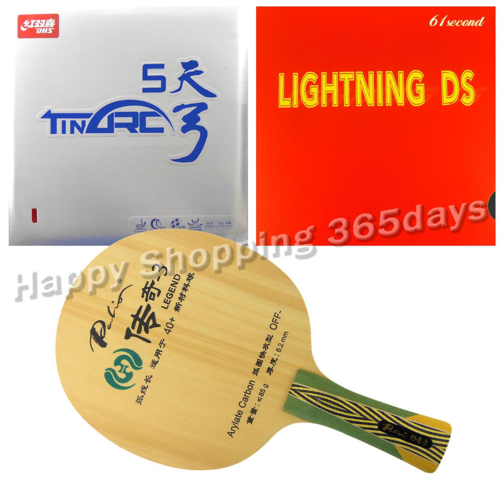 Pro Table Tennis PingPong Combo Racket Palio Legend-3 with 61second Lightning DS and DHS TinArc5 Shakehand long handle FL pro table tennis pingpong combo racket palio chop no 1 with kokutaku 119 and bomb mopha professional shakehand fl
