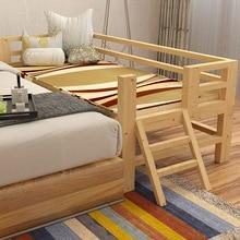 Высококачественная детская односпальная кровать из цельного дерева с защитным ограждением, детская кровать из соснового дерева, удлиненная большая кровать-кроватка