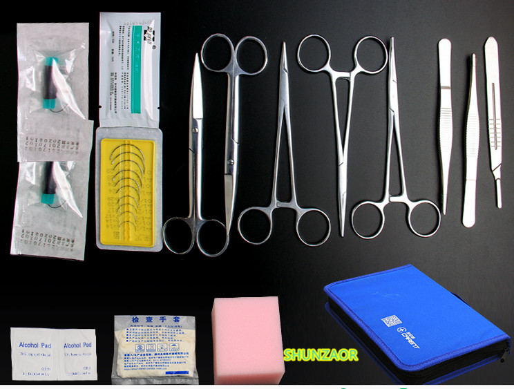 Medical Science Aids 13 in 1training Surgical instrument tool kit/surgical suture package kits set for student