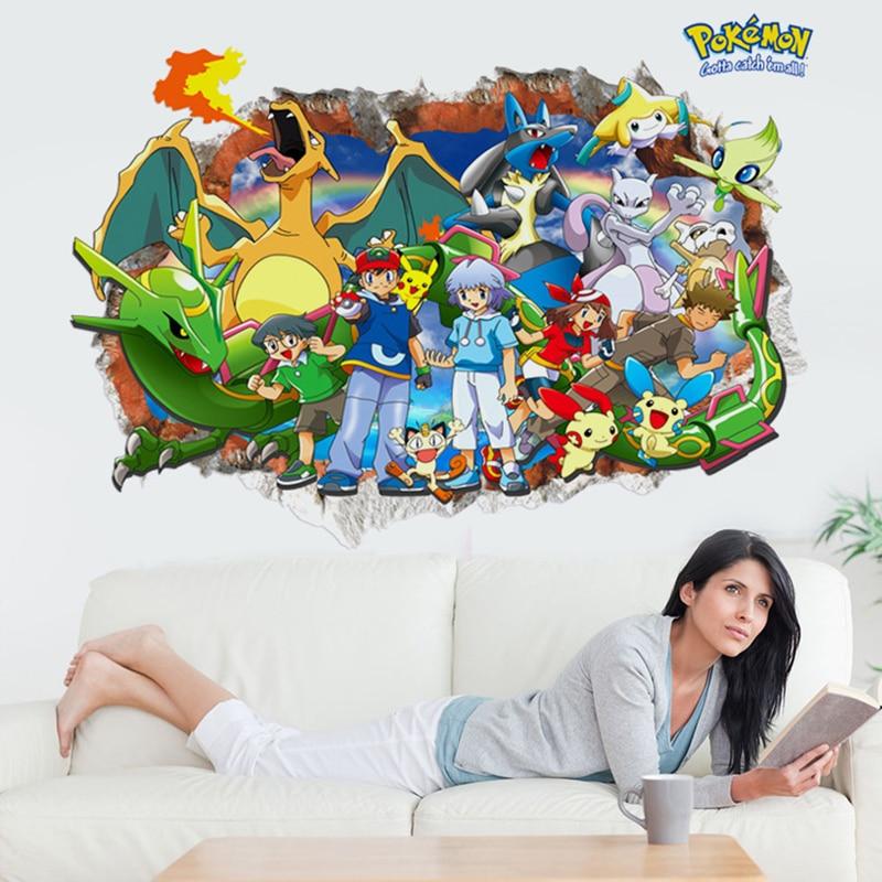 juego de dibujos animados pokemon pikachu ir pegatinas de pared para cuartos de los nios de