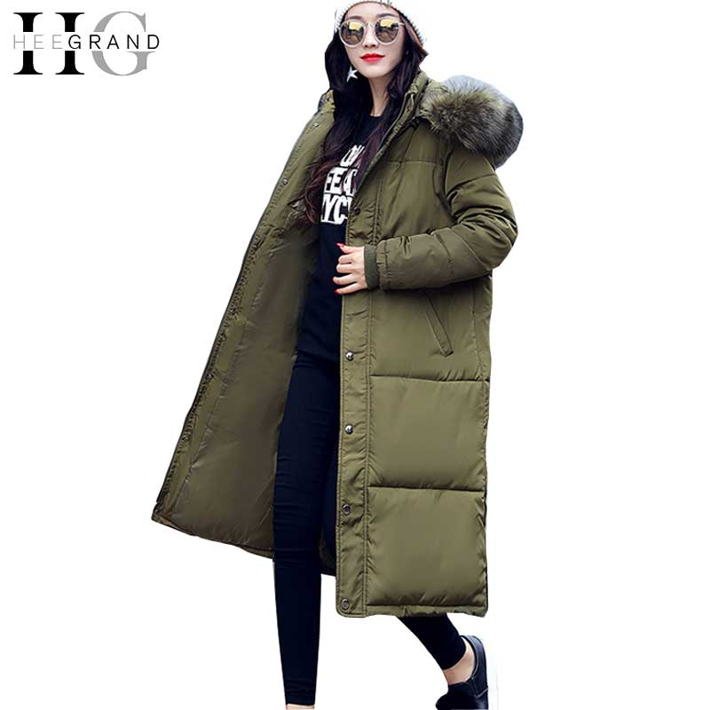 HEE GRAND Women 2017 Fashion Coat Thick Fur Collar Long Knee Feathers Winter New Hooded Jacket Long Warm Outwear  WWY380 fur and feathers