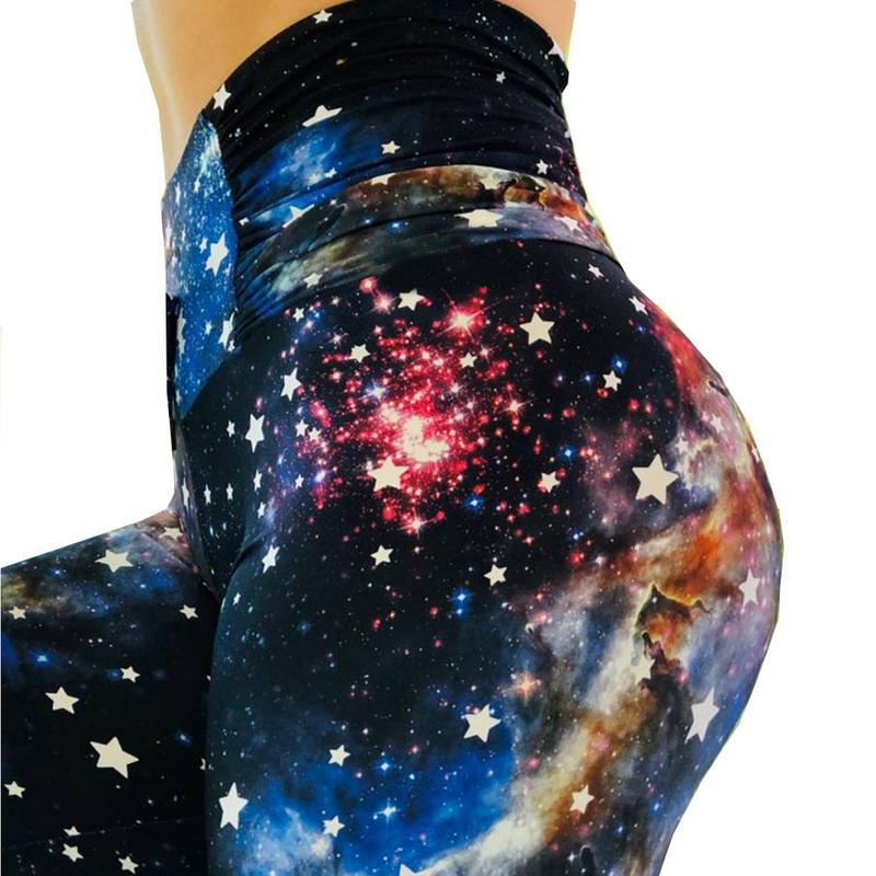 2019New Gaiters For Women Print Sexy Leggins High Waist  No Transparent Exercise Fitness Leggings Patchwork Push Up Female Pants