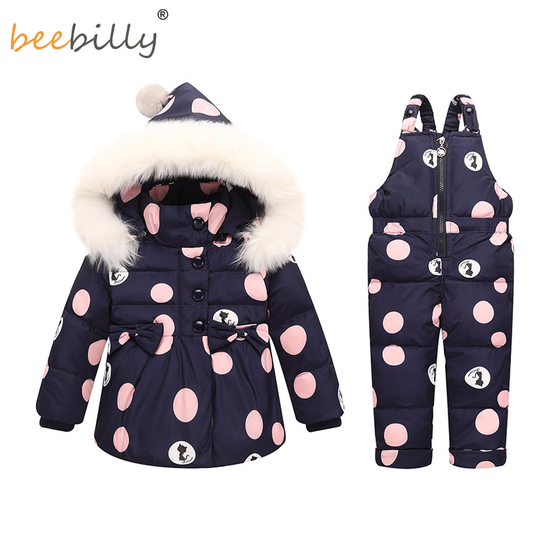 Winter Baby Girls Clothing Sets Warm Children Down Jackets Kids Snowsuit Baby Ski Suit Girl's Down Jackets Outerwear Coat+Pants angela&alex winter baby girls clothes sets children down jackets kids snowsuit warm baby ski suit down outerwear coat pants