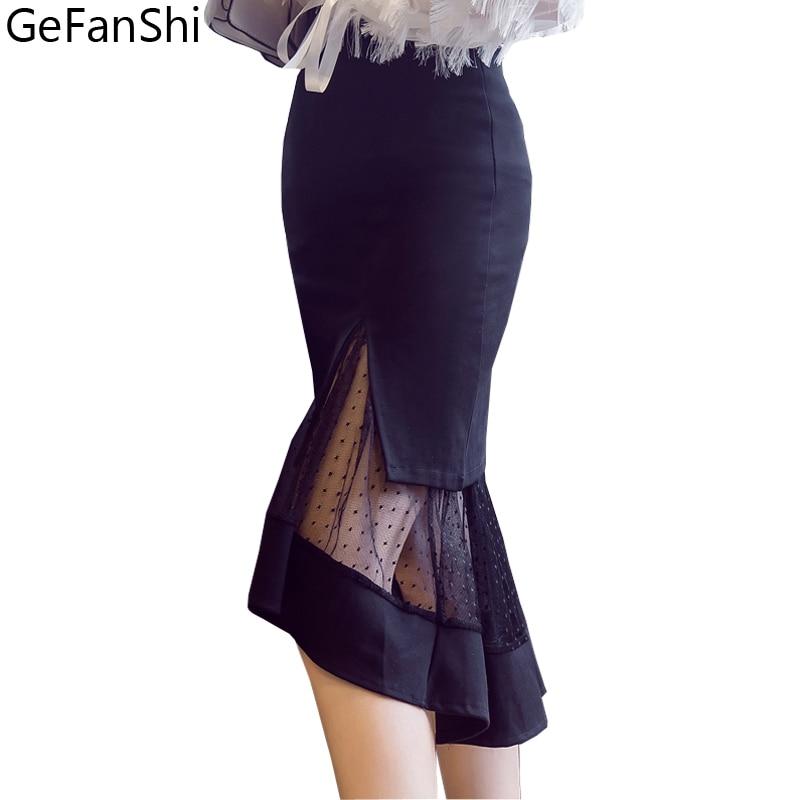 Women Fashion High Waist Mesh Patchwork Autumn Winter Skirt New 2018 Summer Casual Female Bodycon Asymmetrical Lady Skirts