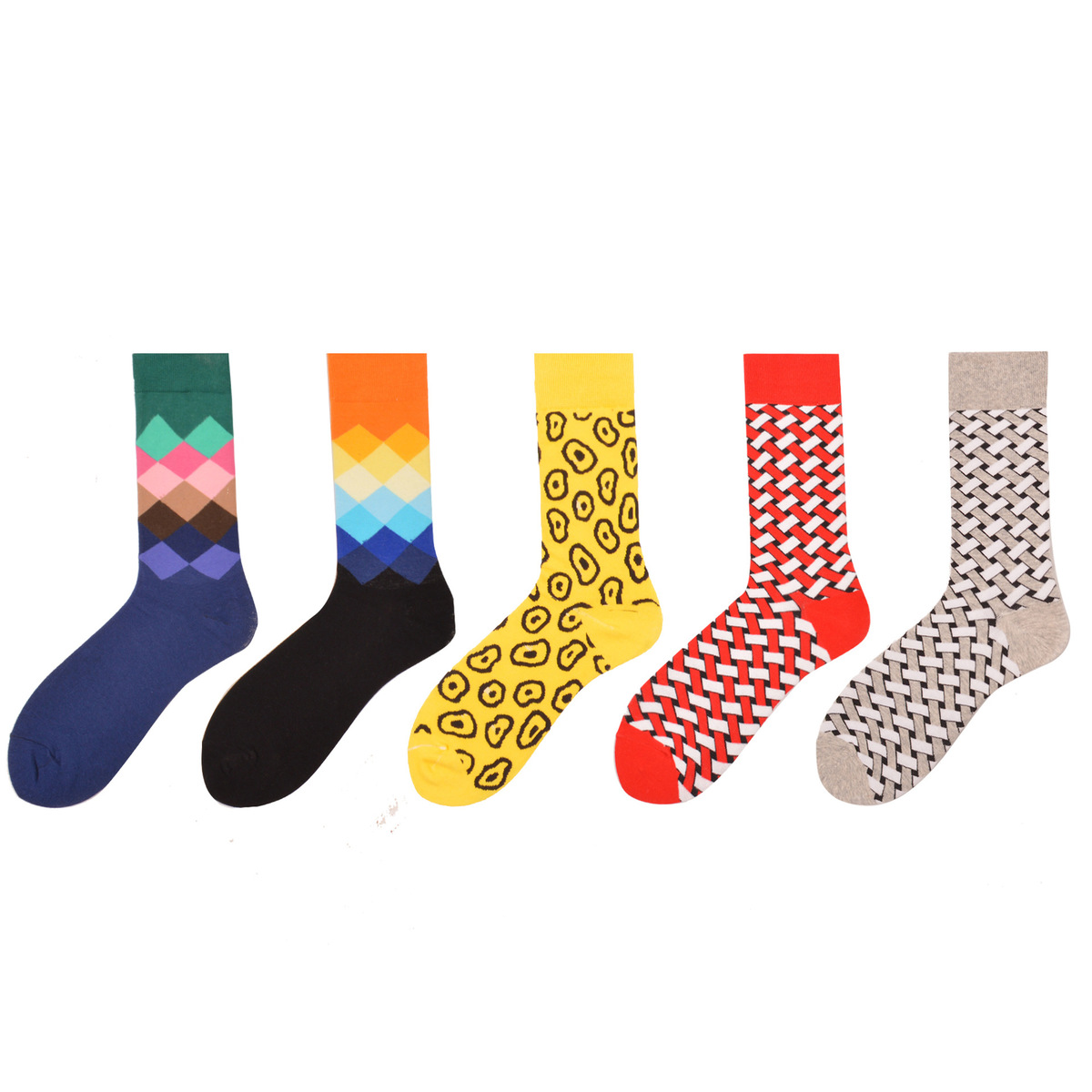 PEONFLY 5Pairs/lot Mens Funny Colorful Combed Cotton Socks Red Argyle Pack Casual Happy Socks Dress Wedding Socks