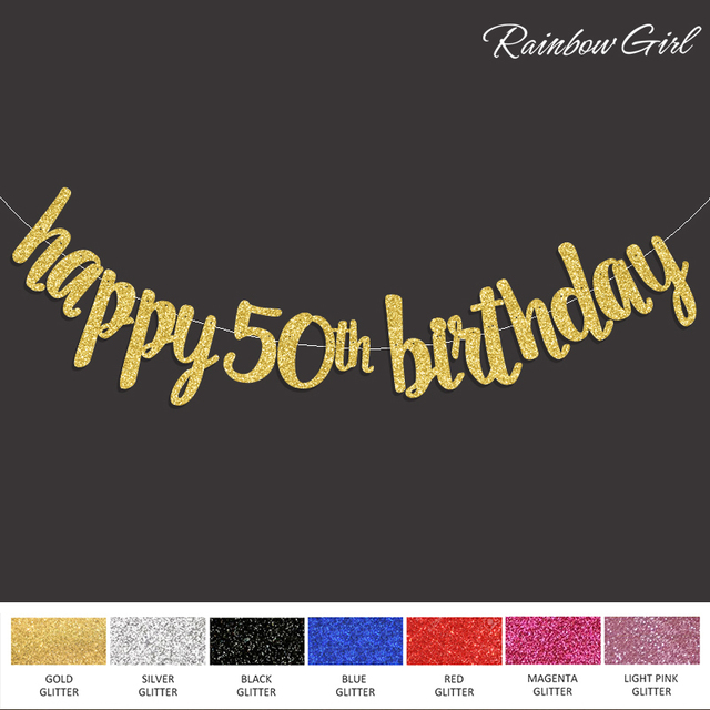 2017 New Popular Happy 50th Birthday Banner Gold Black Silver Glitter Fifty Anniversary Party Decorations Supplies