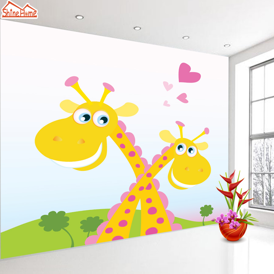 ShineHome-Custom Giraffe 3D Walls Murals Living Room 3D Contact Wall Paper Mural Child Children Boys Girls Wallpaper Wholesale shinehome red van gogh almond blossom painting wallpaper rolls for 3d walls wallpapers for 3 d living rooms wall paper murals