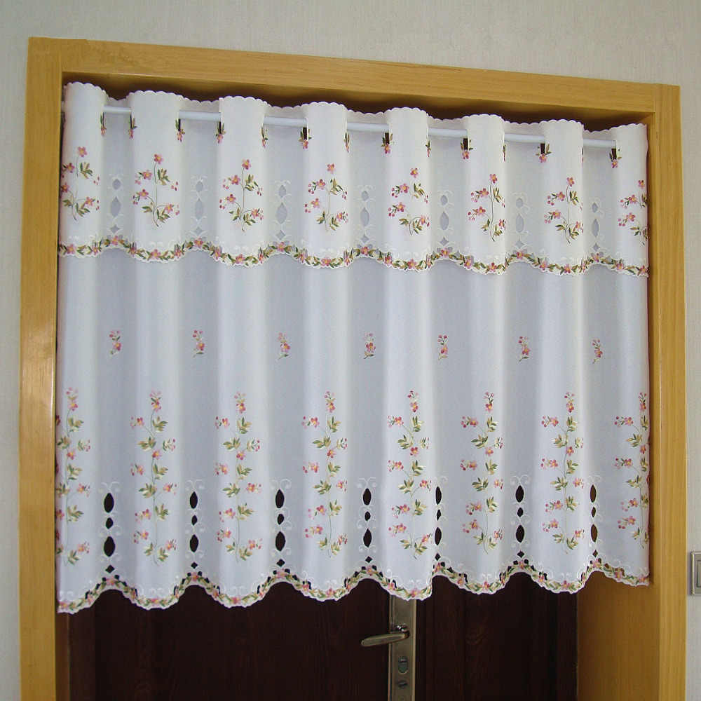 Luxurious Embroidered Half-curtain Transparent Tulle Valance Blackout Curtain Embroidery Hem Curtain for Kitchen Cabinet Door