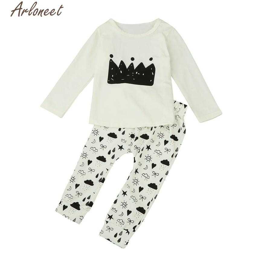 ARLONEET 新生児ガール服セット冬ベビー少年少女プリント長袖 2 個服セット服スーツ P30 dec07