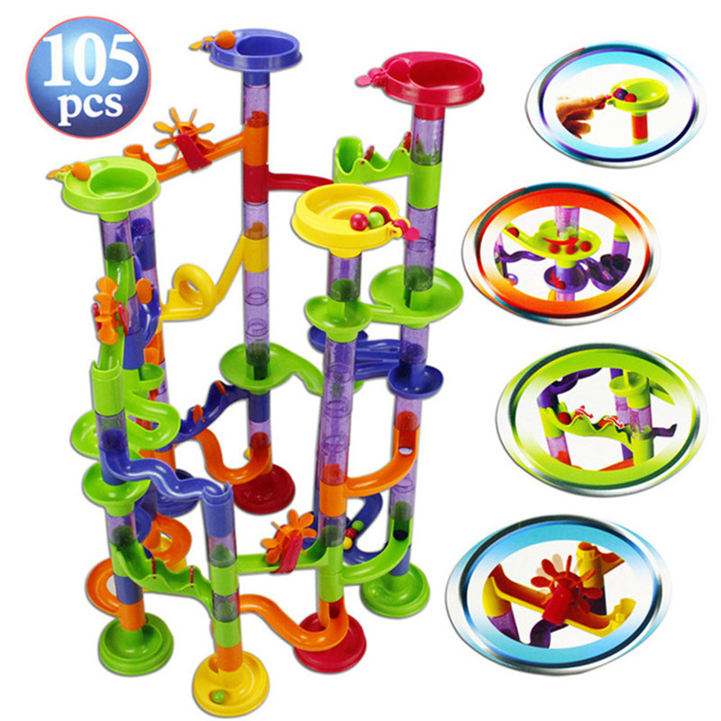 105PCS DIY Construction Marble Race Run Maze Balls Pipeline Type Track Building Blocks Baby Educational Block Toy For Children wooden toys tree marble ball run track game for baby montessori blocks intelligence educational model building wood toy