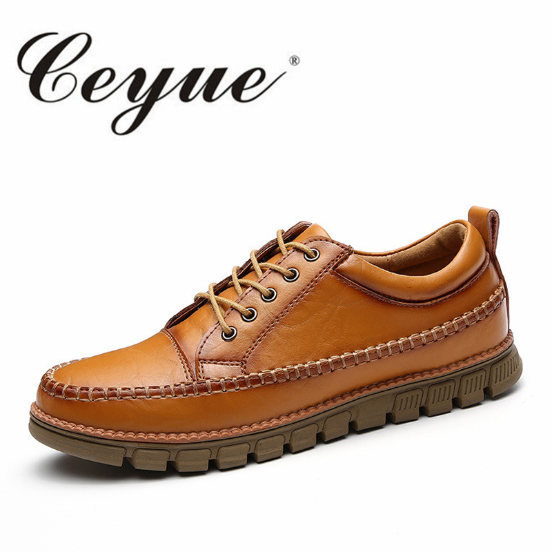 Ceyue Handmade Men Leather Shoes Moccasins Casual Shoes Men New Hot Sale 2017 Fashion Brand Outdoor Walking Oxford Shoes For Men cbjsho brand men shoes 2017 new genuine leather moccasins comfortable men loafers luxury men s flats men casual shoes