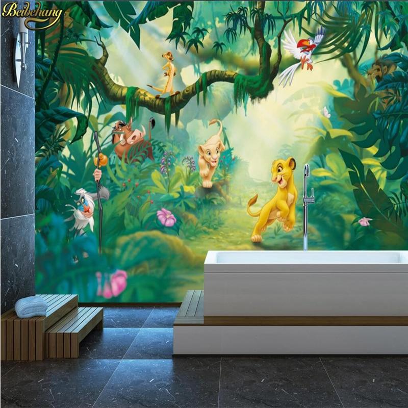 Купить с кэшбэком beibehang Custom Photo Wallpaper 3D Cartoon Animal Wood Background Wall Decorative Painting Children Background Wall