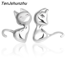 Drop Shipping 925 Sterling Silver Pendientes Jewelry Animal Cut Cat Stud Earrings For Women Accesorios EH132(China)