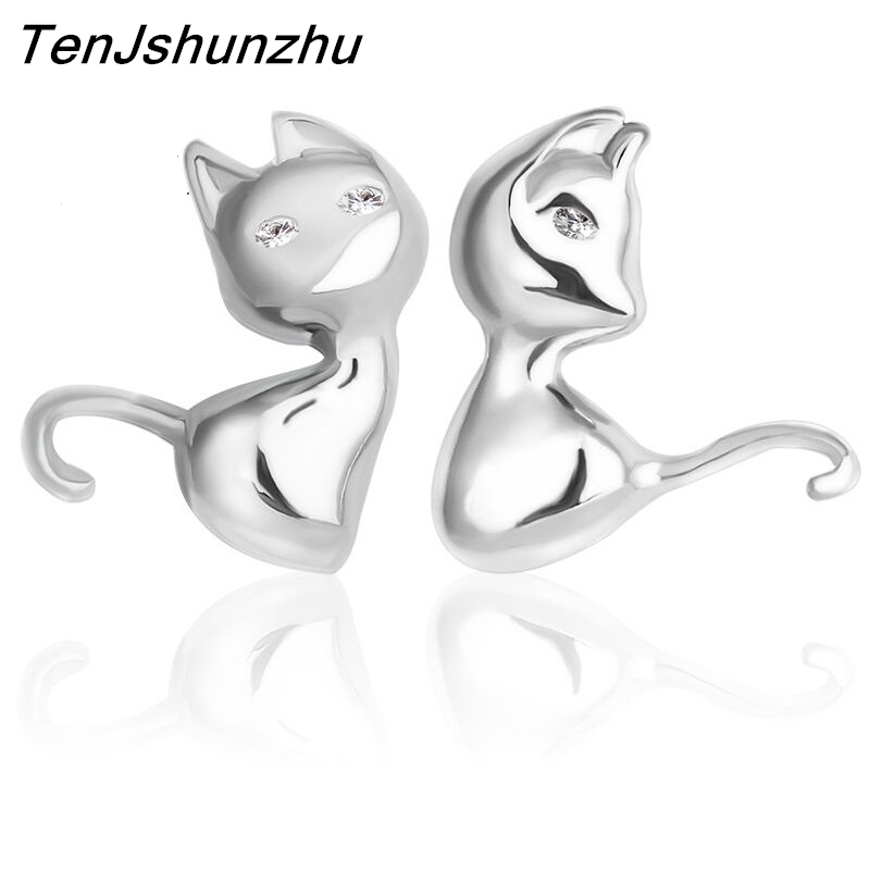 Drop Shipping 925 Sterling Silver Pendientes Jewelry Animal Cut Cat Stud Earrings For Women Accesorios EH132