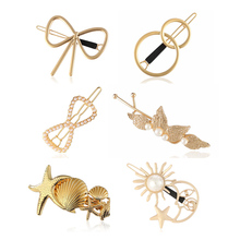 Hfarich Gold Color Bow With Man-made Pearl Hair Clips for Women pins Sea Star Scallop Accessories femme