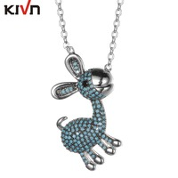 KIVN Fashion Jewelry CZ Cubic Zirconia Cute Animal Cat Pendant Necklaces For Women Promotion Birthday Girls