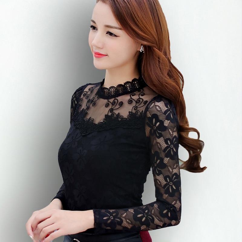 S 5XL Lace Blouse 2017 Women Blouses Shirts Elegant Black ...