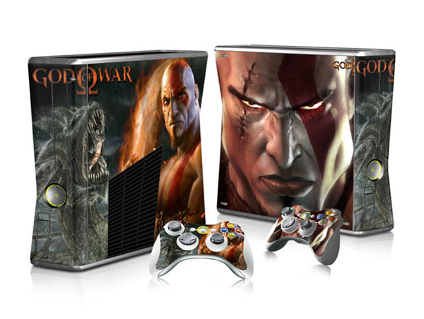 High Quality God Of War Vinyl Decal Skin Sticker For Xbox 360 Slim With 2 Controller Decals