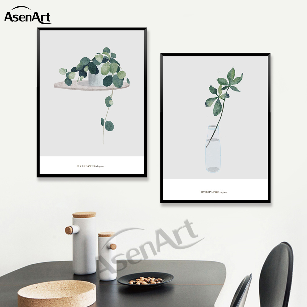 Canvas Painting  Artwork North European green Plant Poster for Living Room Home Decoration Wall Art Canvas Prints No Frame