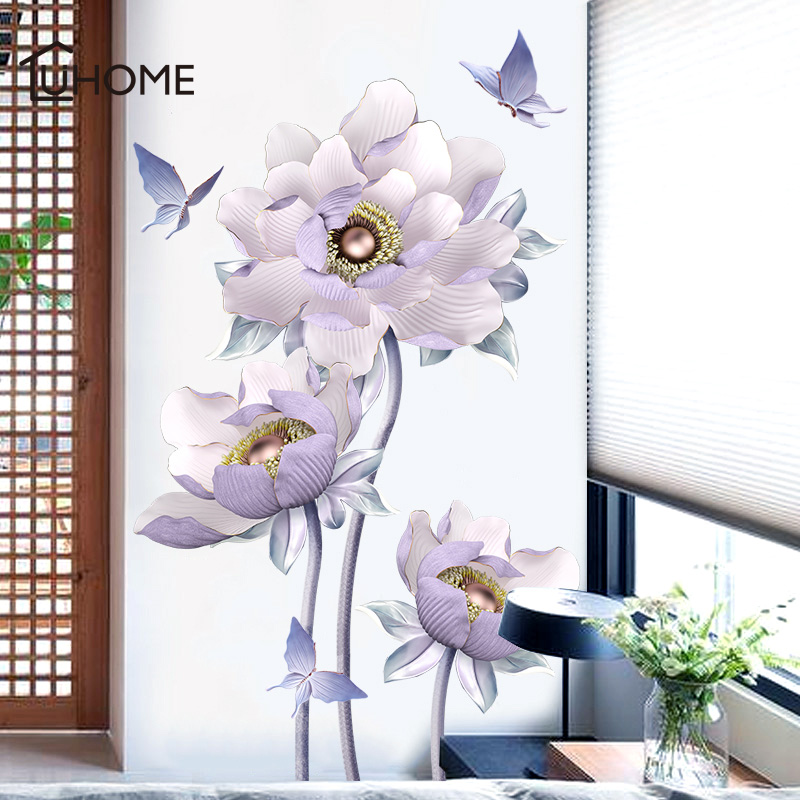 3D Lotus Flying Butterfly Purple Flower Wall Sticker for Living Room Decal Wall Painting Room Decoration Adhesive Wallpaper