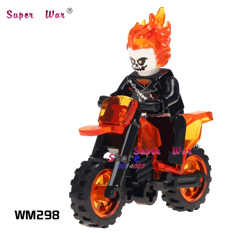 1PCS model building blocks action figures starwars superheroes Ghost Rider With Motorcycle Collection diy toys for children gift