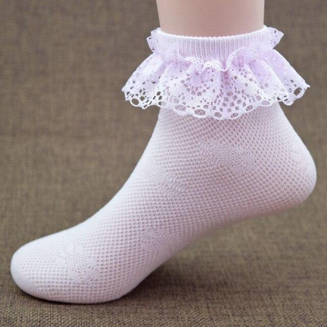 71a7d1ca36545a Cienkie letnie dziecko dziewczyny dzieci maluch różowy bawełna koronki  wzburzyć księżniczka mesh skarpetki dziecięce kostki krótkie