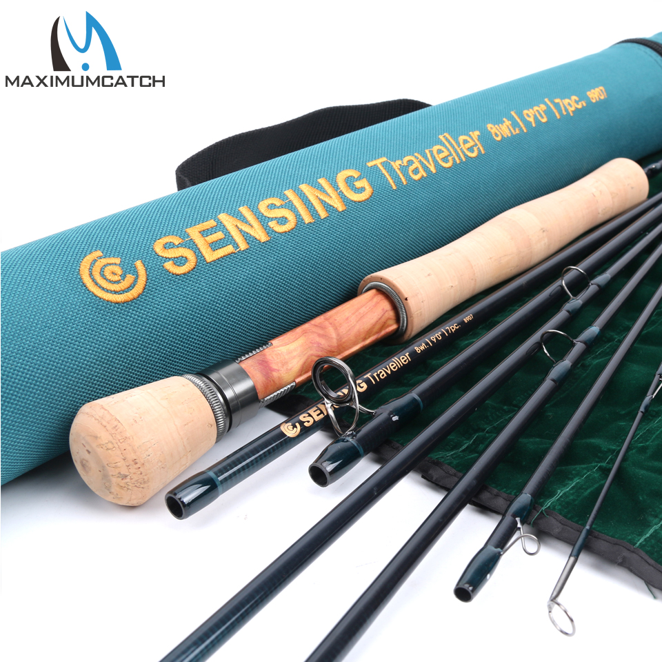 Maximumcatch Fly Fishing Rod 7 sec Sensing Traveller 4 9WT 9F THalf well Fast Action Carbon