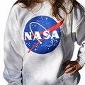 Сексуальные Женщины Толстовка НАСА Напечатанное Письмо Случайные Свободные Пуловер Рубашки Мода Длинным Рукавом 2016 Женские Chic Носите A162