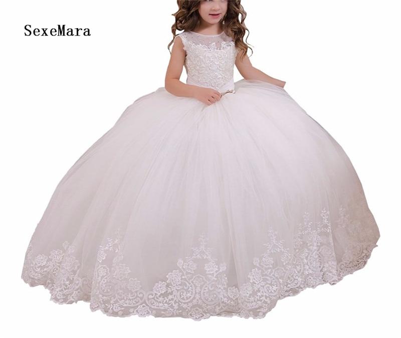 Long flower girls dresses white first communion dresses for girls vestido daminha de comunion para ninas dresses for girls girls dresses bell